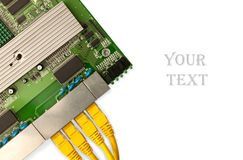Ethernet switch board with yellow patch cords top view. Place for your text Stock Photo