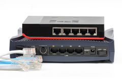 Ethernet switch isolated and router lan on the white background Royalty Free Stock Photography