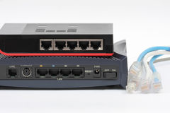 Ethernet switch isolated and router lan on the white background Stock Images