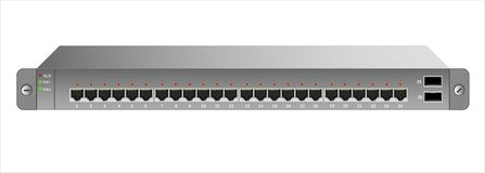 The Ethernet switch for mounting with a 19-inch rack with 26 ports, including two backbones. Vector illustration Royalty Free Stock Photos
