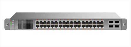 The Ethernet 1U switch for mounting with a 19-inch rack with 40 ports, including four backbones. Vector illustration Royalty Free Stock Images