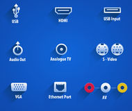 Ethernet video ports signs and symbols. Created Ethernet video ports in vector form Royalty Free Stock Photography