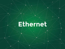 Ethernet white text illustration with green constellation map as background Royalty Free Stock Photo