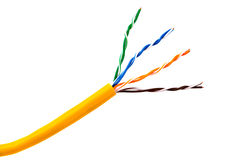 Ethernet wire  cable or yellow patch-cord with twisted pair Stock Image