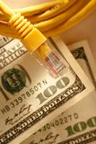 Etherneta dolar i kabel Zdjęcia Royalty Free