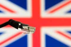 Etherneta kabel z Zjednoczone Królestwo flaga w tle Obraz Royalty Free