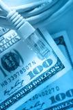 Ethernetkabel en dollar Stock Foto's