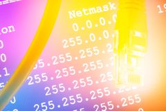 Ethernetkabel en Netmask royalty-vrije stock foto