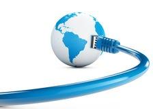 Ethernetkabel, internetuppkoppling, bandbredd Världen på rengöringsduken Världsanslutningar, jordklot stock illustrationer