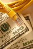 Ethernetkabel och dollar Royaltyfria Foton