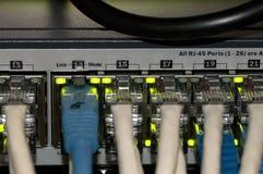 Ethernetnätverksströmbrytare med Ethernetkablar Royaltyfri Foto