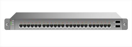 Ethernetströmbrytaren för montering med en 19 tum kugge med 26 portar, inklusive två ryggrader royaltyfri illustrationer