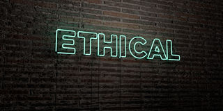 ETHICAL -Realistic Neon Sign on Brick Wall background - 3D rendered royalty free stock image Stock Photo