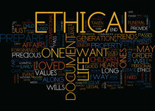Ethical Wills Word Cloud Concept. Ethical Wills Text Background Word Cloud Concept Royalty Free Stock Photos