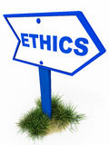 Ethics. A signboard pointing to ethics, ethical business and professional service concept Royalty Free Stock Images