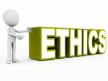 Ethics. Word presented by a little 3d man against a white background, word in green, concept of integrity and ethical business practices at every level Stock Image