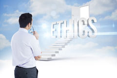 Ethics against steps leading to open door in the sky Stock Photography