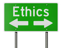 Ethics and arrows on highway sign Stock Photography