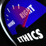 Ethics Gauge Measure Conscious Behavior Good Bad Right Wrong. Ethics measured on a gauge to determine your level of good or bad behavior and right vs wrong Royalty Free Stock Photography