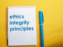 Ethics Integrity Principles, Business Words Quotes Concept. Ethics Integrity Principles,  Motivational business words quotes, wooden lettering typography concept stock image