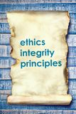 Ethics Integrity Principles, Business Words Quotes Concept. Ethics Integrity Principles,  Motivational business words quotes, wooden lettering typography concept stock images
