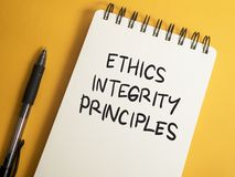 Ethics Integrity Principles, Business Words Quotes Concept. Ethics Integrity Principles,  Motivational business words quotes, wooden lettering typography concept royalty free stock photo
