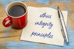 Ethics, integrity and principles on napkin royalty free stock images