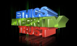 Ethics, integrity and trust. Text 'ethics, integrity and trust' in upper case 3D letters, in blue, green and orange colors respectively, black background with a Royalty Free Stock Photos
