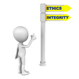 Ethics and integrity. Words on a road sign, little man pointing to the right way Stock Photography