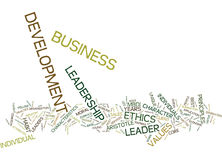 Ethics Leadership In Business Development Word Cloud Concept Royalty Free Stock Images
