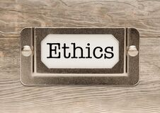 Ethics Metal File Cabinet Label Frame On Wood Stock Photography