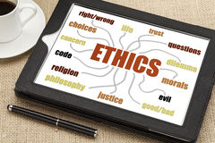 Ethics mind map on a tablet Stock Image