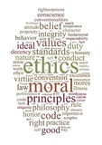 Ethics and principles word cloud royalty free illustration