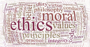 Ethics and principles word cloud. Word or tag cloud of ethics morals and values words Royalty Free Stock Image