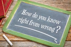 Ethics question on blackboard Stock Photo