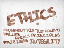 Ethics. And related words written with ink on paper texture Royalty Free Stock Photography