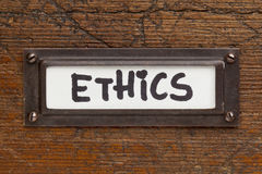Ethics tag - file cabinet label Royalty Free Stock Photography