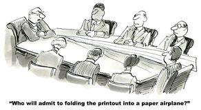 Ethics. Who will admit to folding the printout into a paper airplane Stock Image