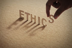 ETHICS wood word Royalty Free Stock Photography