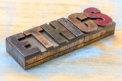 Ethics word abstract in wood type Stock Images