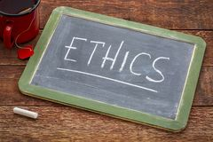 Ethics word on blackboard Royalty Free Stock Image
