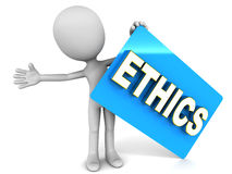 Ethics. Word card held up by a little man, concept of ethical business practices Stock Images