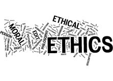 Ethics word cloud. On white background Royalty Free Stock Photos