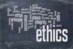 Ethics word cloud on blackboard. Cloud of words or tags related to ethics and moral dilemma - white chalk text on  a slate blackboard blackboard Stock Photo
