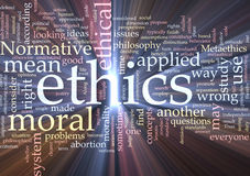 Ethics word cloud glowing Stock Photos
