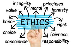 Ethics Word Cloud tag cloud isolated. Ethics Word Cloud or tag cloud isolated Stock Photos