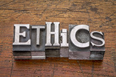 Ethics word in metal type Stock Photo