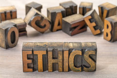 Ethics word  abstract  in letterpress wood type Stock Photography