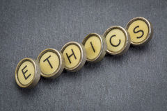 Ethics word in  typewriter keys Royalty Free Stock Photography