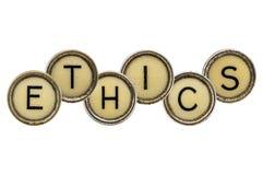 Ethics word in  typewriter keys Royalty Free Stock Image